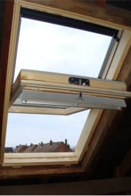 open roof window in the loft