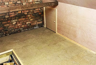 This image shows how the unusable eaves can be boarded up with access doors included