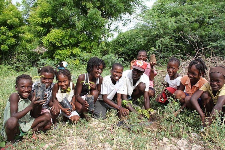 group of children planting trees