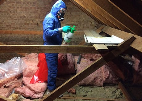 A member of The Loft Boys preparing for the removal of an asbestos sheet