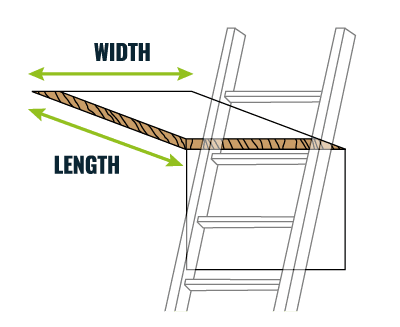 Diagram showing how to measure loft hatch