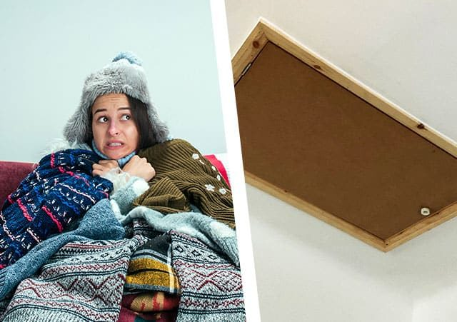 cold lady under blankets and loft hatch